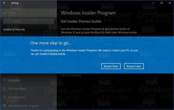 restart now - windows insider program