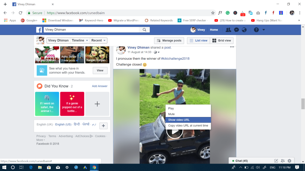 download facebook videos - show video url