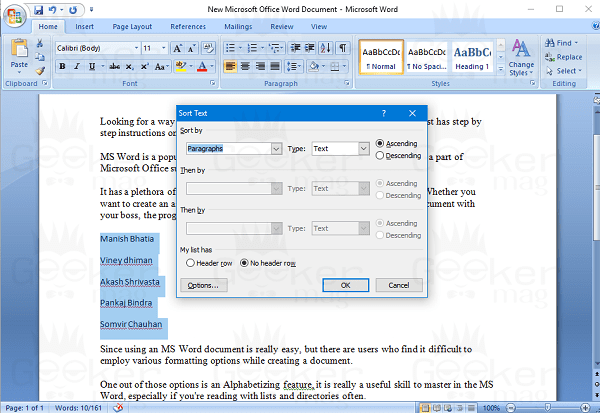 sort text window in word document