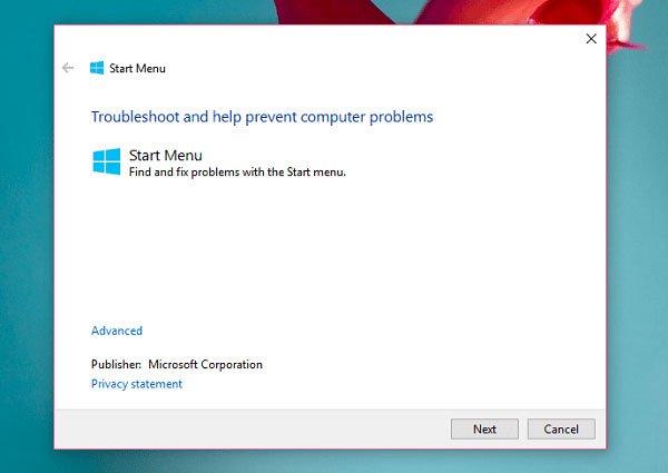 windows 10 start menu troubleshooter