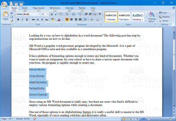 word document list
