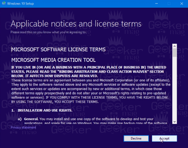 windows 10 media creation tool - applicable notices and license terms