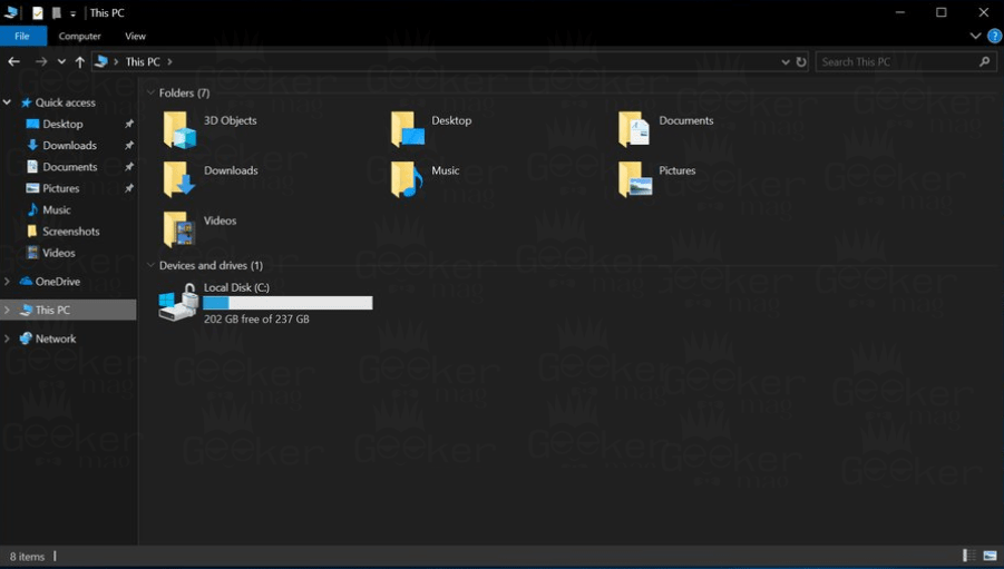 windows 10 file explorer dark theme - build 1733