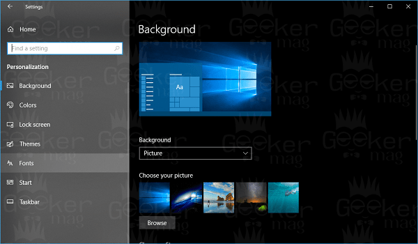 windows 10 fonts settings