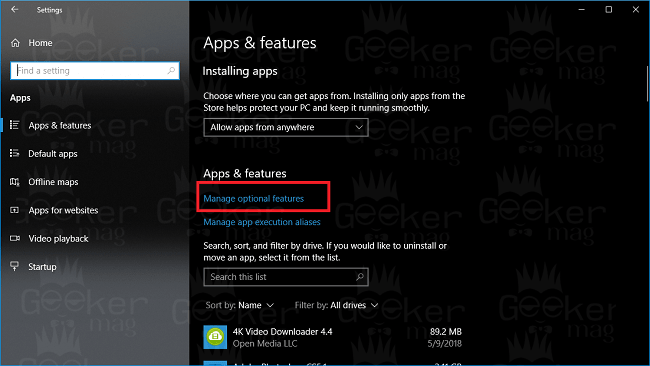 manage options features windows 10