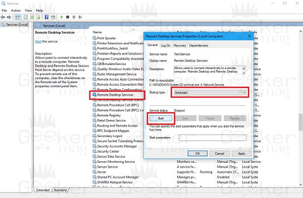 remote desktop service in windows 10
