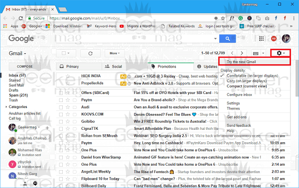 try a new gmail
