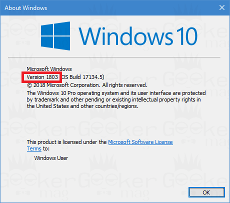 find windows 10 version using winver command