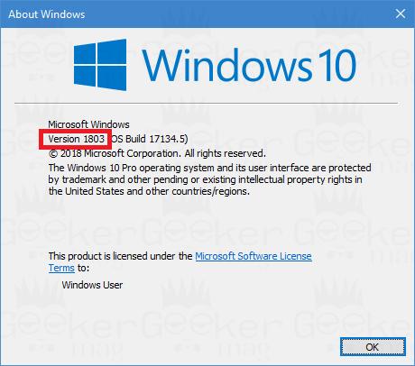 find windows 10 version using winver command
