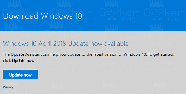 windows 10 update available