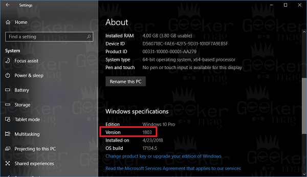 find out windows 10 version using settings app