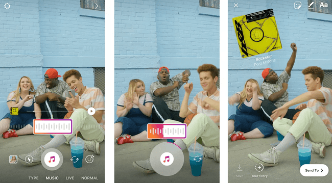 add music to instagram stories before recording videos