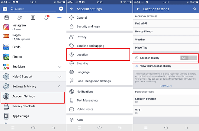 disable facebook location history