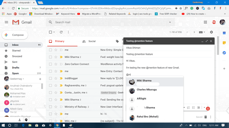 gmail @mention feature
