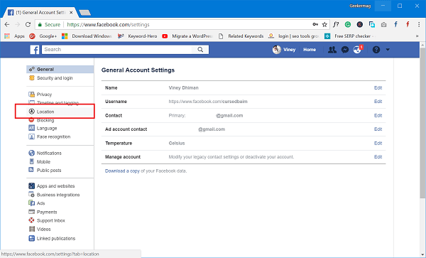 facebook location settings