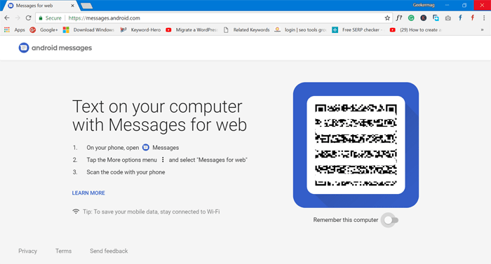 messages for web page