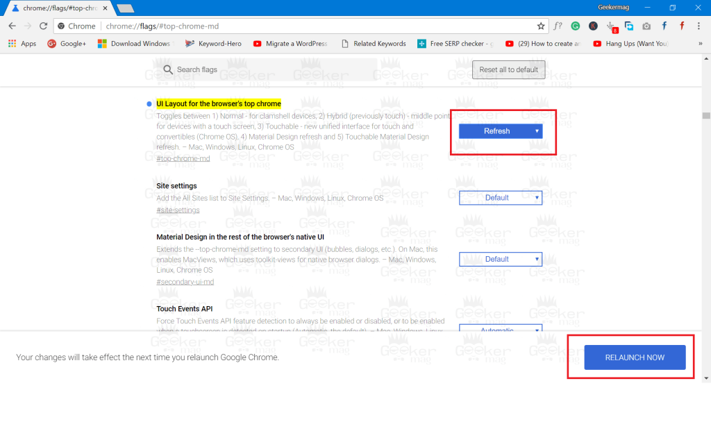 UI Layout for the browser's top chrome
