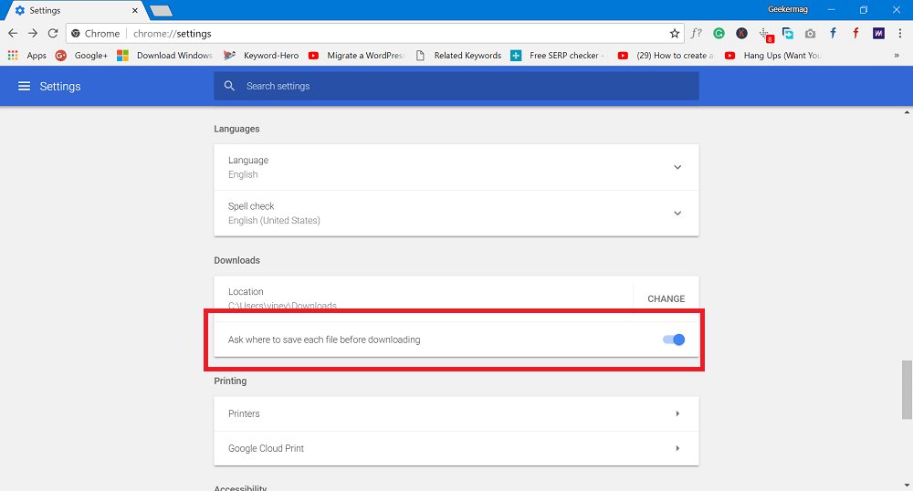 Ask where to save each file before downloading-chrome
