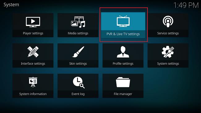 Kodi PVR and Live TV settings