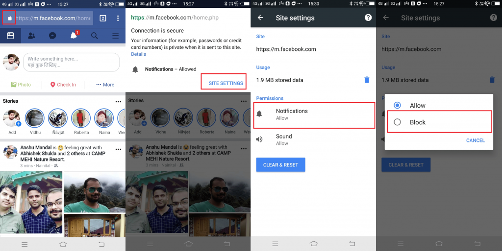 Turn Off Facebook Notification in Chrome for Android and iOS