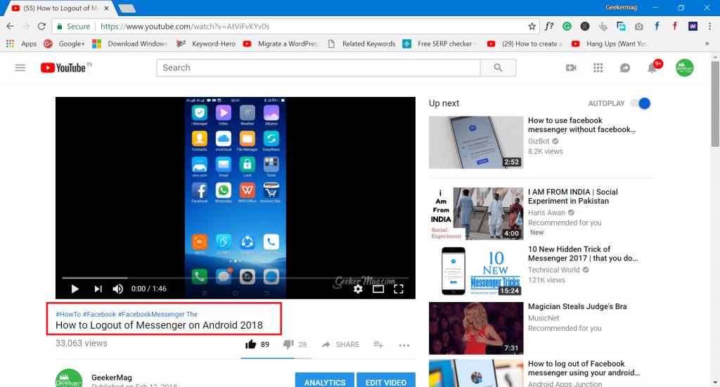 add hashtags in youtube video description
