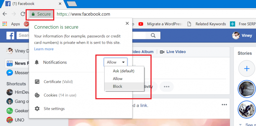 Turn Off Facebook Notification in Chrome for Web
