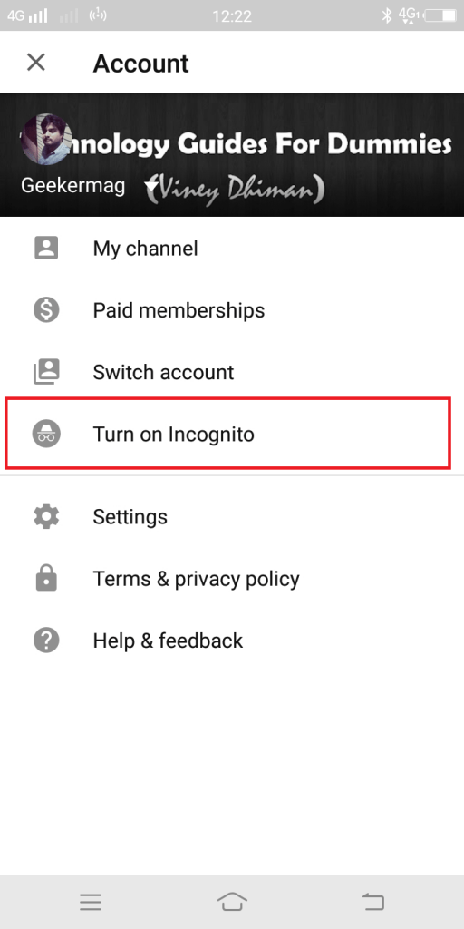 turn on incognito mode youtube