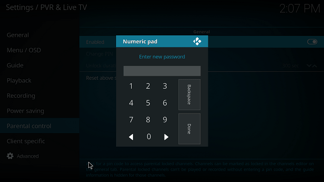 enter new pin in kodi