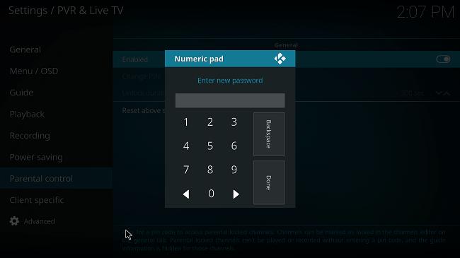 enter new pin in kodi