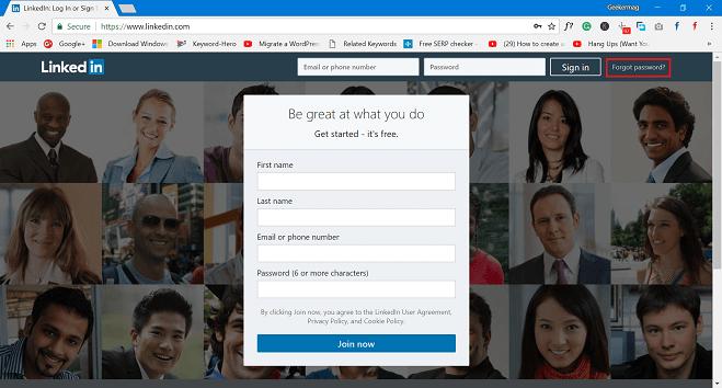 forgot password in linkedin