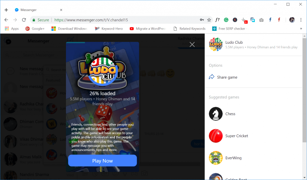 start playing the game on messenger
