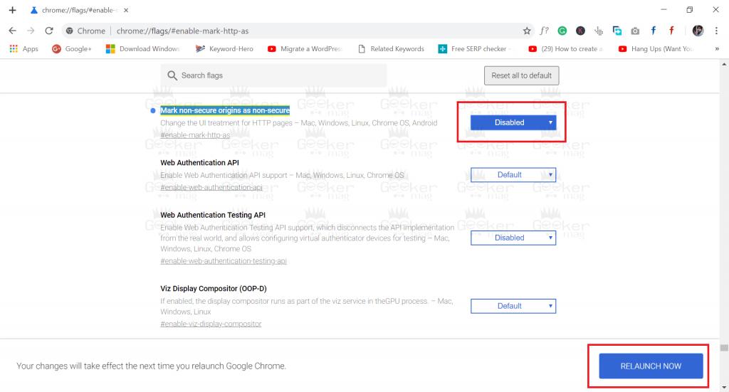 mark non-secure origins as non-secure - Chrome browser