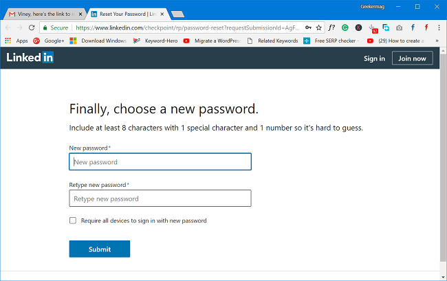 enter new linkedin password