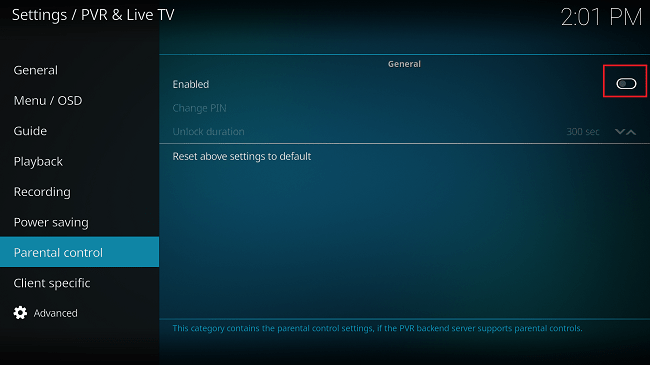 kodi parental controls