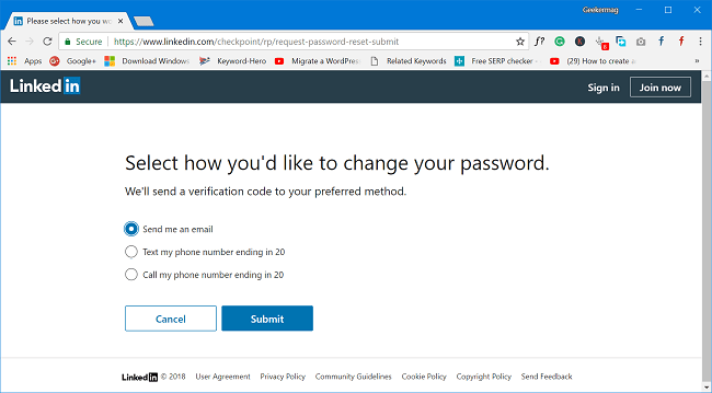 receive verification code