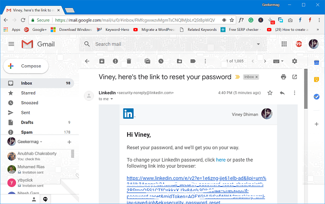 reset email