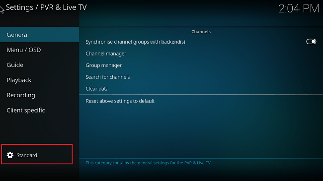 kodi standard settings