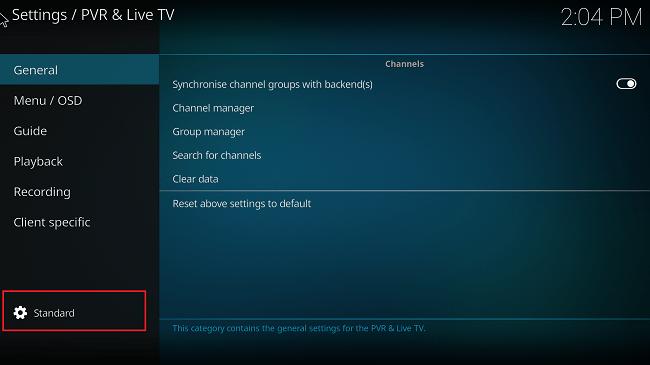 kodi standard settings