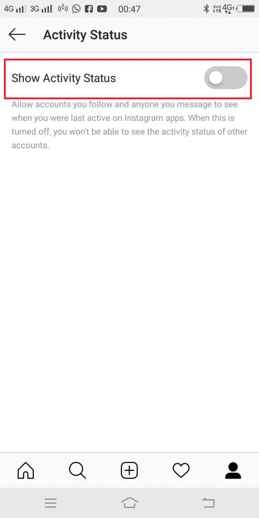 turn off show activity status