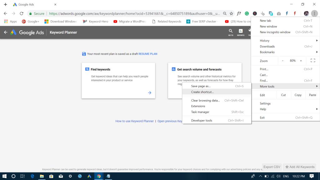 create shortcut in google chrome browser