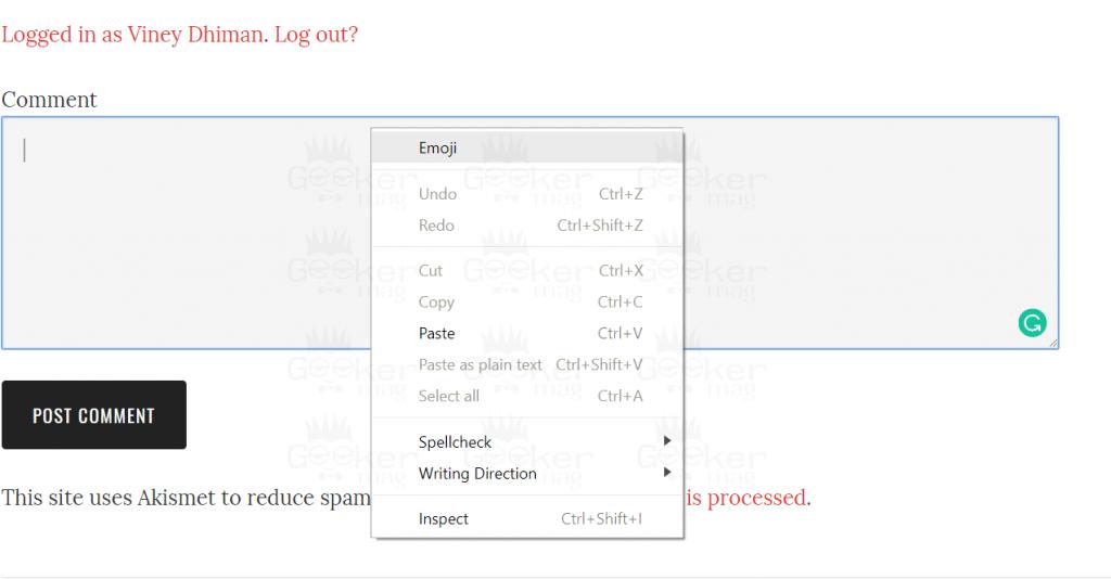 emoji option in chrome context menu