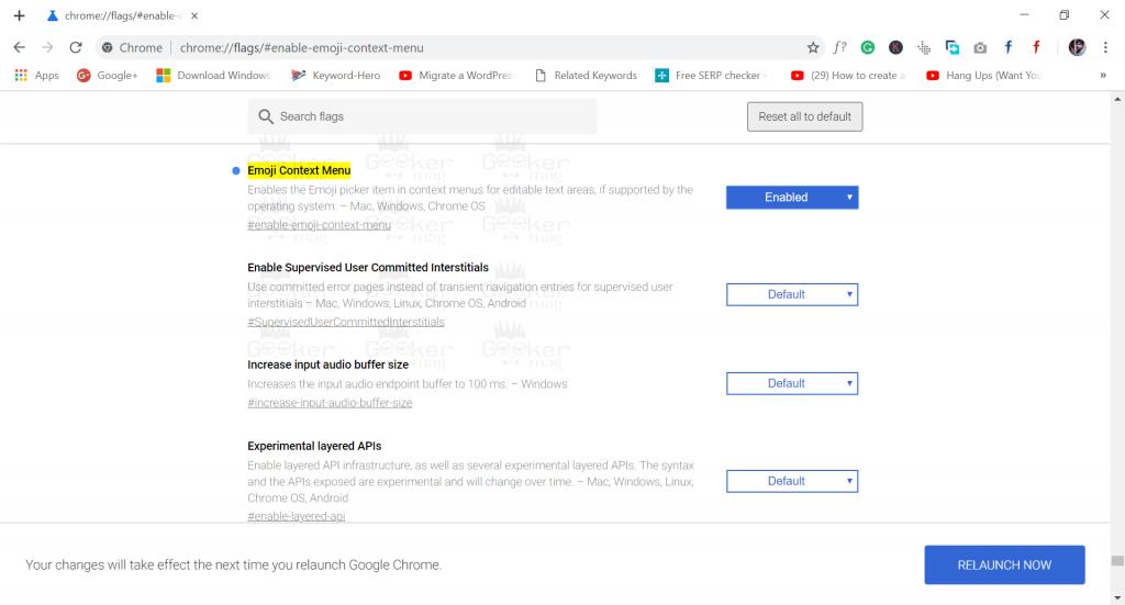 emoji context menu flag chrome browser