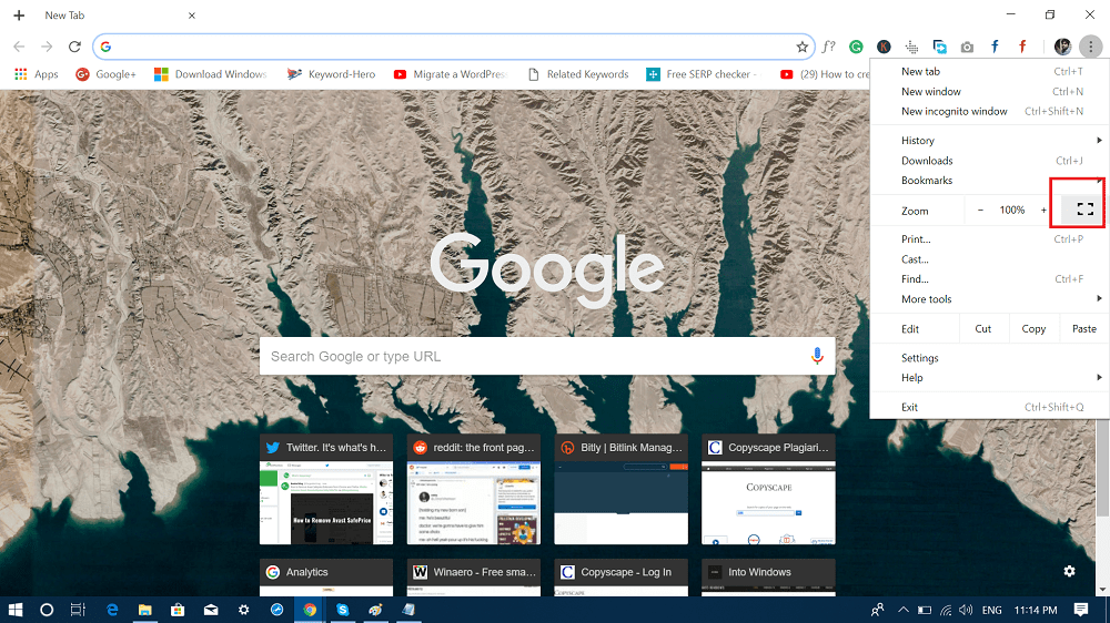 full screen icon available in chrome setting menu