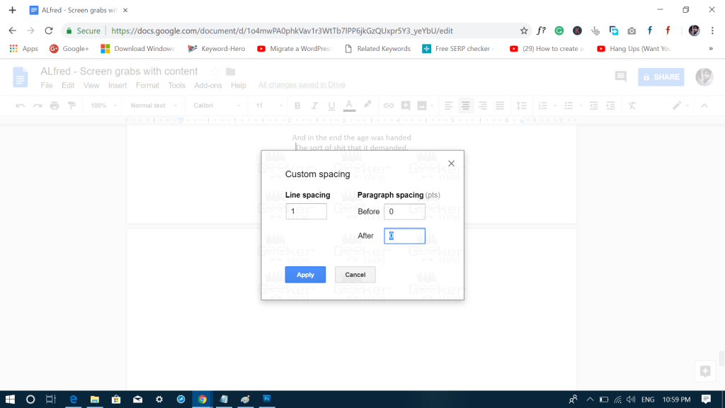 delete blank page in google docs using paragraph spacing