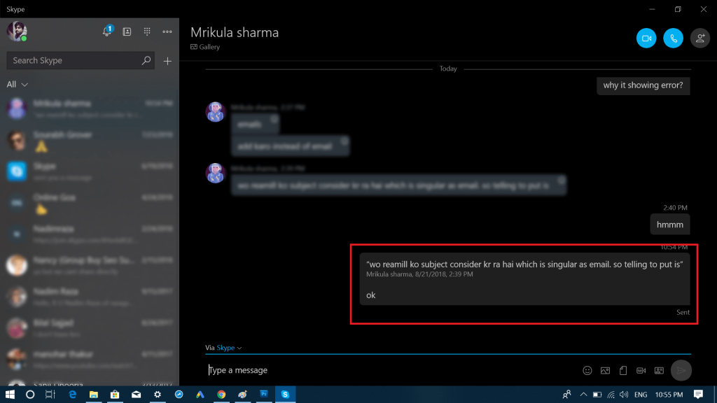 Fix - Quote Message in Skype app for Windows 10 Not Working