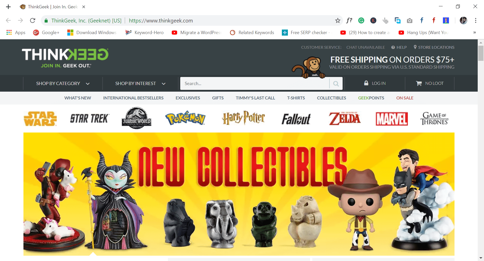 sites like wish.com - thinkgeek