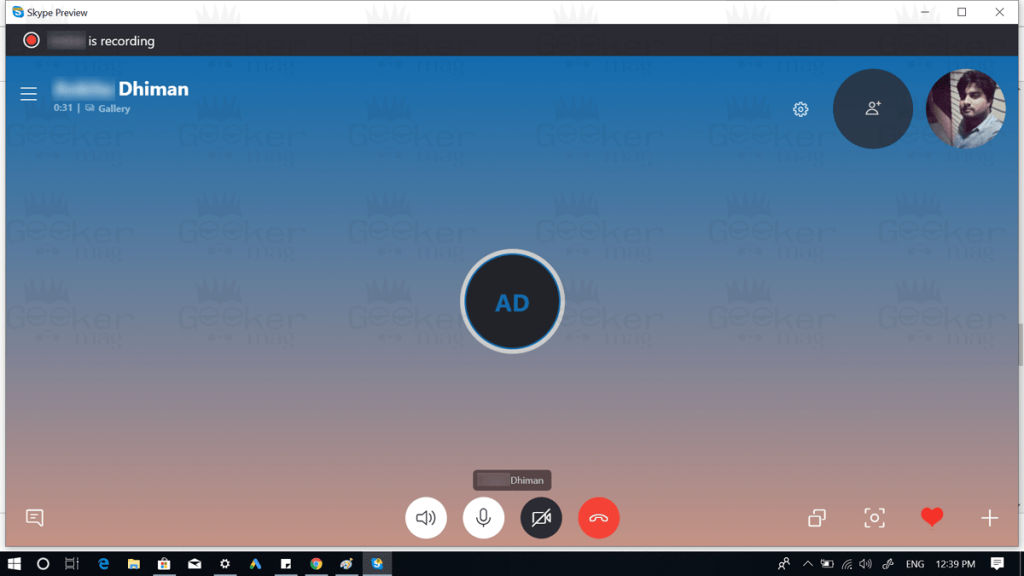 user is recording call message skype