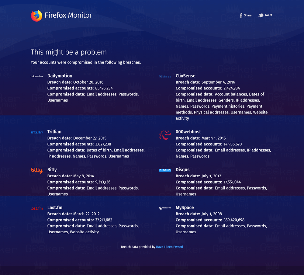 data breach details - firefox monitor