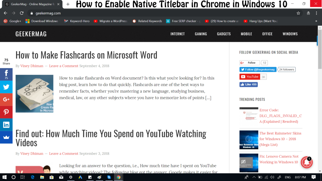 How to Enable Google Chrome Native Title in Windows 10