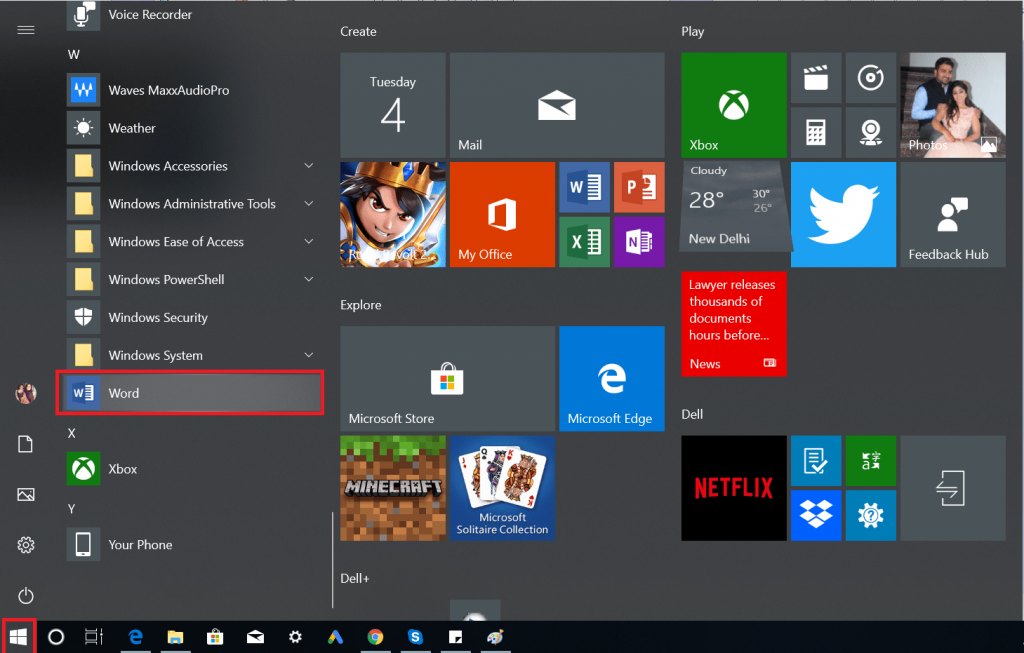 open word using start menu